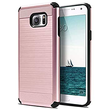 UniSpg for Samsung Note 5 Phone Case,Galaxy Note 5 Case [Luxury Brushed] Heavy-Duty Shockproof Rugged Dual Layer Hybrid PC Armor Defender Protective Phone Case for Samsung Galaxy Note 5 [Rose Gold]