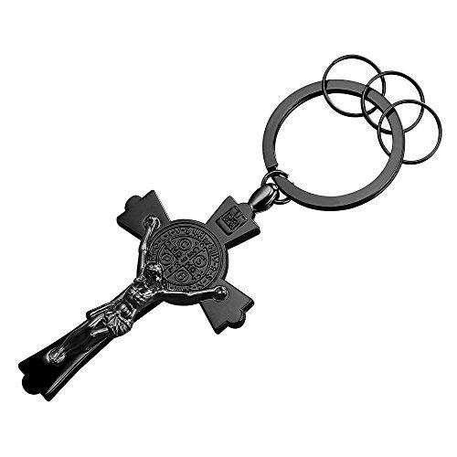 Alloy Black Gun Metal Keyrings Men St Benedict Crucifix Cross Key Tag Car/House Key Holder Keychain Key Ring