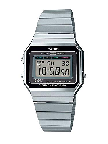 CASIO Damen Digital Quarz Uhr mit Edelstahl Armband A700WE-1AEF