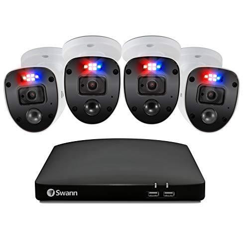 Swann Sistema di Sicurezza Enforcer, 4 Telecamere Full HD con Luci Lampeggianti, DVR a 8 Canali con Disco rigido 1TB, True Detect, Compatibile con Google Assistant e Alexa, Cloud Gratuito, Bianco