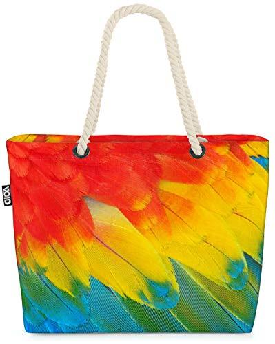 VOID Plumas de Loro Bolsa de Playa 58x38x16cm 23L Shopper Bolsa de Viaje Compras Beach Bag Bolso