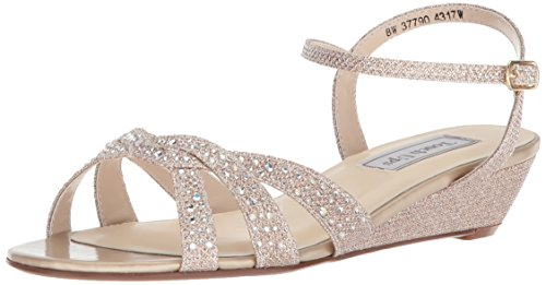 Touch Ups Women's Lena Wedge Sandal, champagne, 9 M US