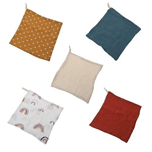 xinying Toalla 5 piezas de toallas de bebé tela muselina mano mano toallitas saliva babero pañuelo paño