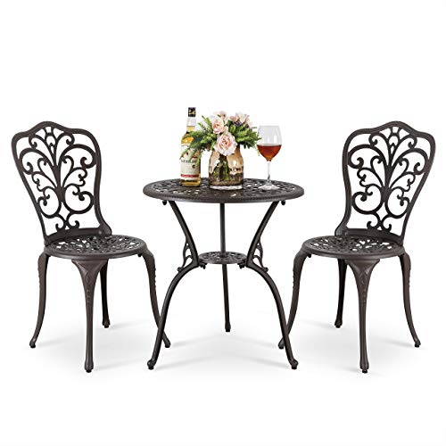 Nuu Garden 3 Piece Bistro Table Set, 24 inch Patio Café Table with Umbrella Hole Cast Aluminum Outdoor Patio Furniture-Dark Bronze