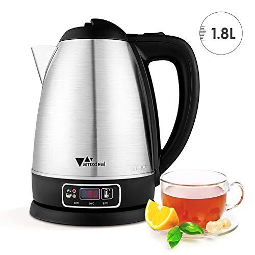 amzdeal Wasserkocher, 1.8L 1800W 304 Edelstahl Wasserkocher, einstellbare Temperatur 40-100℃, LED-Anzeige, Trockenkochschutz, schnurlos, für Kaffee, Tee verwendet