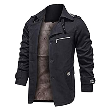 Men s Thicken Fleece Cotton Military Tactical Work Jackets Outwear Pure Color Breathable Plus Size Washing Autumn Winter Coat Black