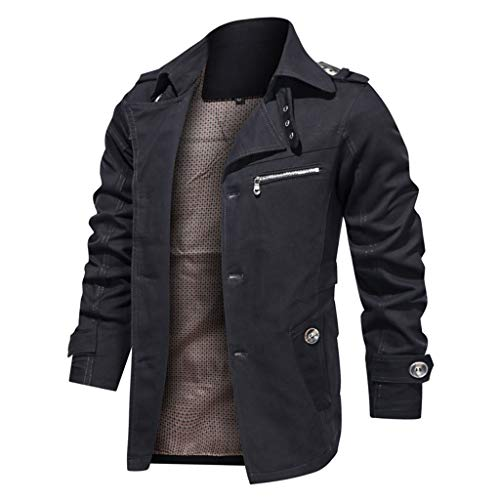 Men's Thicken Fleece Cotton Military Tactical Work Jackets Outwear Pure Color Breathable Plus Size Washing Autumn Winter Coat Black