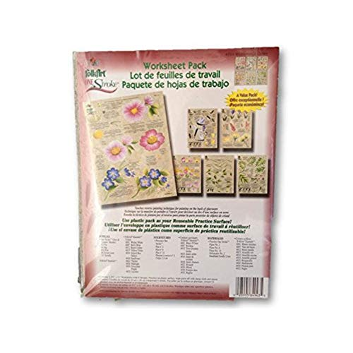 Donna Dewberry One Stroke Reusable Reversible Painting Teaching Guides Paint Worksheet Wildflowers Critters Flowers Pack Supplies Set 3 Double Sided Plastic Coated Practice Sheets