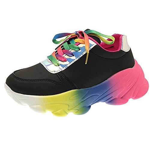 HLDJ Zapatillas Deporte Mujer Blanco PU Informales Punta Redonda Zapatos Deportivos Tacón Alto Plataforma Cordones Zapato Mujer Caminar Al Aire Libre Calzado Senderismo