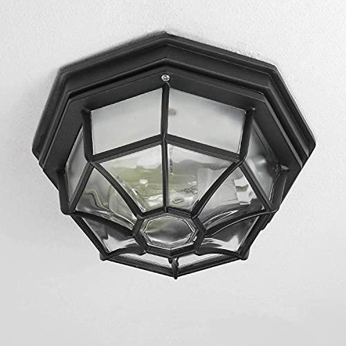 Rustikale Außen Deckenleuchte flache Außenlampe in schwarz E27 bis 100W IP54 für Garten Hof Deckenlampe Beleuchtung