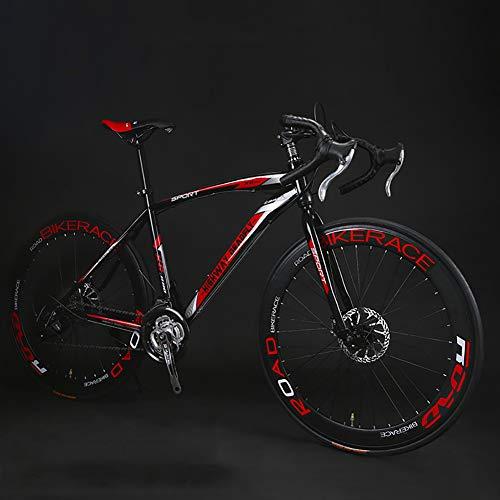 WSZGR 27 Geschwindigkeit Derailleur-System Straßenfahrrad,Zahnräder Dual-scheiben-Bremse Bike,Erwachsene Variable Geschwindigkeit Fahrrad,26 Zoll Rennrad Schwarz Und Rot 26
