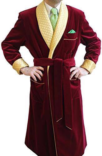 남성 버건디 벨벳 흡연 재킷 퀼트 로브 코트 크리스마스 파티에서 블레이저 롱 코트를 입는다