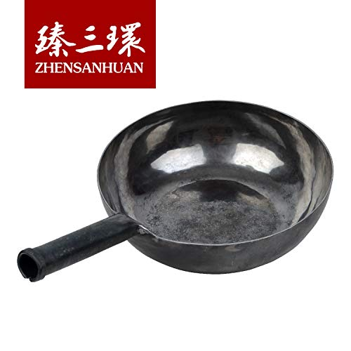 ZhenSanHuan Chinese HandHammered Iron Woks and Stir Fry Pans Nonstick No Coating Induction Suitable 章丘铁锅,舌尖上的中国,A bite of China 28CM