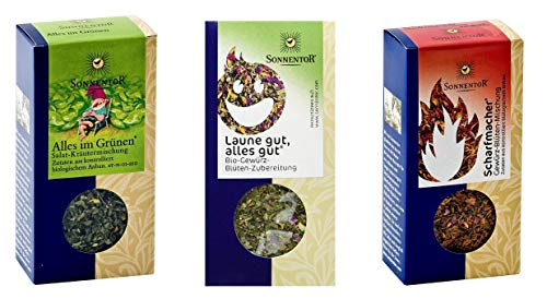 Sonnentor - 3er Set Gewürze - Scharfmacher (30 g) und Alles im Grünen Salatgewürz (15 g) und Laune gut, alles gut (25 g)
