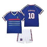 CWWAP 1998 Vintage francés Jersey de fútbol Zidane 10 Henry 12 Trezeguet 20 Uniforme de fútbol Camiseta de fútbol Personalizada Jersey y Pantalones Cortos-No.10-XL