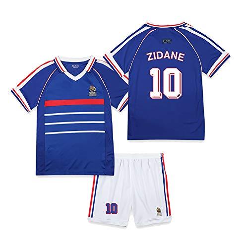 CWWAP 1998 Vintage francés Jersey de fútbol Zidane 10 Henry 12 Trezeguet 20 Uniforme de fútbol Camiseta de fútbol Personalizada Jersey y Pantalones Cortos-No.10-S