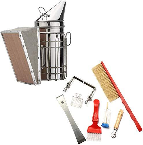 Generic 8 Stück Imkerwerkzeug Kit Bienenstock Raucher Set Imkereibedarf Tools Edelstahl-Smoker Bienenzucht Zubehör für Imker