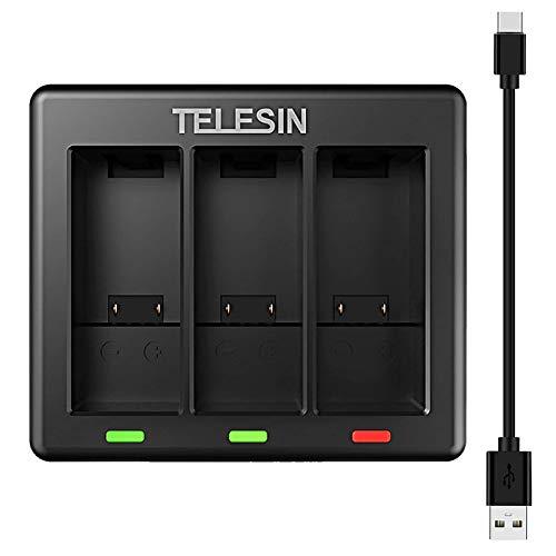 TELESIN - Cargador de batería para GoPro HERO 9, color negro, con cable de carga tipo C, cargador de viaje de triple canal, compatible con Gopro Hero 9 [baterías GoPro no incluidas]