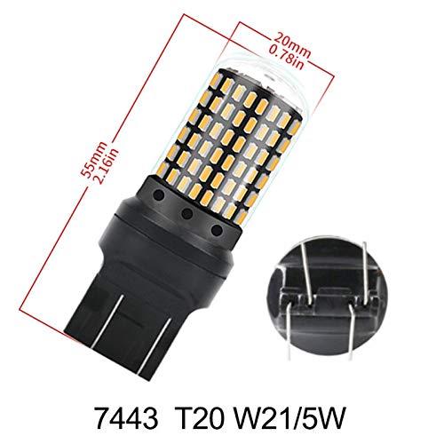 1pcs 2800lm 7440 7443 Bulbo Sin error Free T20 W21W W21 / 5W WY21W Bombillas Freno de coche Lámpara de la lámpara de la luz de la lámpara de giro ( Color Temperature : Yellow , Emitting Color : 7443 )
