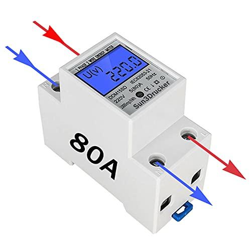 Stromzähler Hutschiene 1 phase Wechselstromzähler - 80A 220V DIN LCD Digitaler Stromzähler, Zwischenzähler/Strom Zähler Verbrauchsmessgerät, Ungeeicht, S0 Schnittstelle Zähler