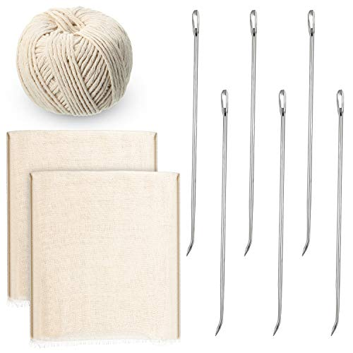 WILLBOND 9 Pieces Poultry Lacing Kit, Turkey Lacer 7 Inch Meat Trussing Needle Stainless Steel Pin, Twine Cooking Twine and Cheese Cloth for Trussing, Tying Poultry Meat, Pig, Roasting Turkey