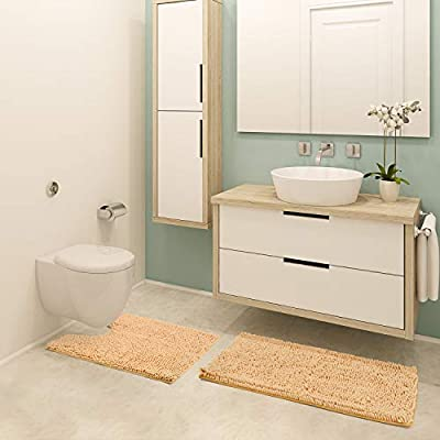 Pretigo Bathroom Rugs Chenille 2-Piece Bath Mat Set, Includes U-Shaped Contour Toilet Mat and Bath Mat ,Machine Washable (Beige)