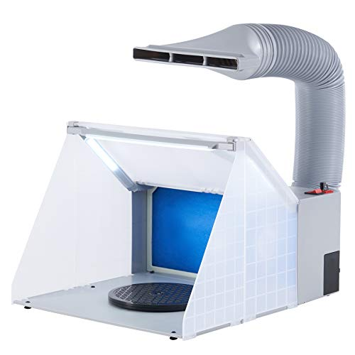 CO-Z Lighted Airbrush Paint Spray Booth with Exhaust Fan, Portable Paint Booth for Airbrushing with LED Lights, Turntable and Filter Hose, Airbrush Spray Booth Kit for Painting Model Craft Hobby DIY