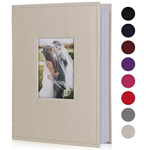 RECUTMS Álbum de fotos pequeño de 10x15, con núcleo de papel para el interior de la página, cubierta de piel sintética, 300 fundas para fotos familiares álbum de fotos (blanco cremoso)