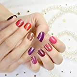 10 Sets Different Red Series False Nails Short Square Pure Color Purple Satin Acrylic Nails Wholesale 10 kits Simply Designed Tips 240pcs totally