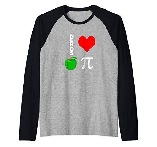 Nerds Love Apple Pi Funny Math Pun Pi Teacher Raglan Baseball Tee