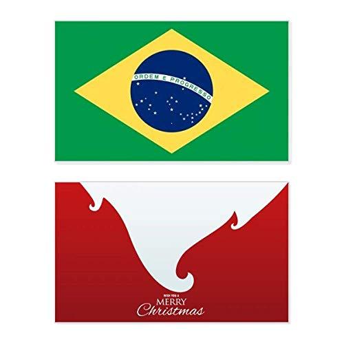 Brasilianische Nationalflagge Südamerika Land Urlaub Merry Christmas Karte Weihnachten Vintage Nachricht