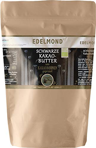 Edelmond Schwarze Kakaobutter Bio, zum Kochen und Backen. Vegane dünn-flüssige Kuvertüre. Ohne Zucker Zutat für Schokolade / Low Carb (750 g)