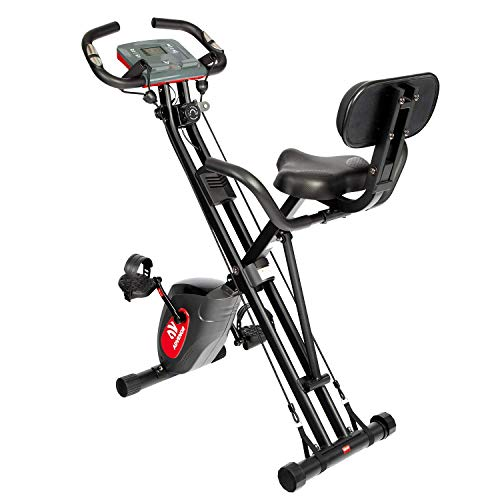 ADVENOR Exercise Bike Magnetic Bike Fitness Bike Cycle Folding Stationary Bike Arm Resistance Band With Arm Workout Backrest Extra-Large Seat Cushion Indoor Home Use (black&red) from ADVENOR