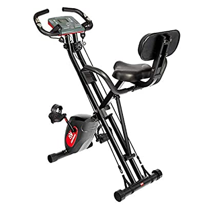 ADVENOR Exercise Bike Magnetic Bike Fitness Bike Cycle Folding Stationary Bike Arm Resistance Band With Arm Workout Backrest Extra-Large Seat Cushion Indoor Home Use (black&red)