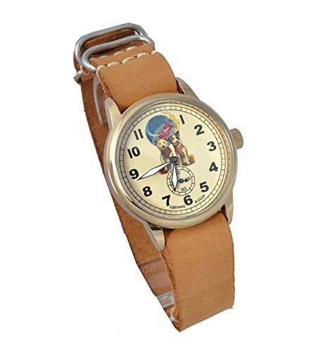 Vintage Pobeda ZIM Russian Mens Wrist Watch Antique Soviet USSR Watch (Milk Chocolate NATO)