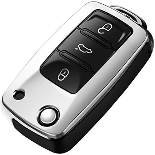 COVELL für VW Autoschlüssel Hülle, Prämie Weiches TPU Schutzhülle Schlüsselhülle für VW Volkswagen Jetta Passat Golf Tiguan Beetle Rabbit GTI CC EOS Flip Autoschlüssel, Silber