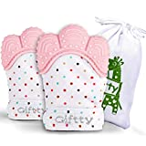 Baby Teething Mittens Self-Soothing Pain Relief Mitt, Stimulating Teether Toy, Prevent Scratches Protection Glove with Travel Bag, Stay on Baby's Hand, Unisex for 0-9 Months Baby (2 Mittens - Pink)