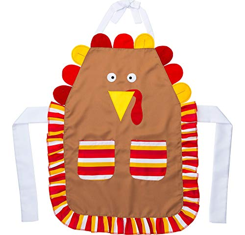 Thanksgiving Turkey Apron, Adult One Size, Brown