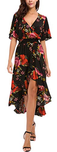 Kormei Women Short Sleeve V Neck Floral High Low Flowy Summer Party Long Maxi Dress L Black&Orange Floral