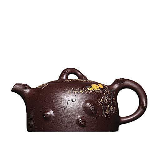 Yixing Teapot Famous Purple Clay Teapot Genuine Hand-painted Clay Teapot Squirrel Grapes Tea Maker Pot CRTTRC Teapot (Color : Purple mud)