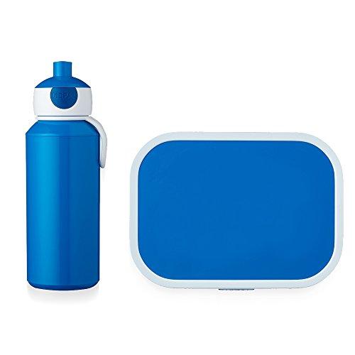 Mepal Pausenset Campus Blau – Trinkflasche und Brotdose mit Bento-Einsatz – ideal für Schule und Freizeit – spülmaschinenfest, ABS, 0 mm, 2