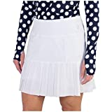 Jofit Apparel Women's Athletic Clothing Long Knife Pleat Skort for Golf & Tennis, Size Small, White