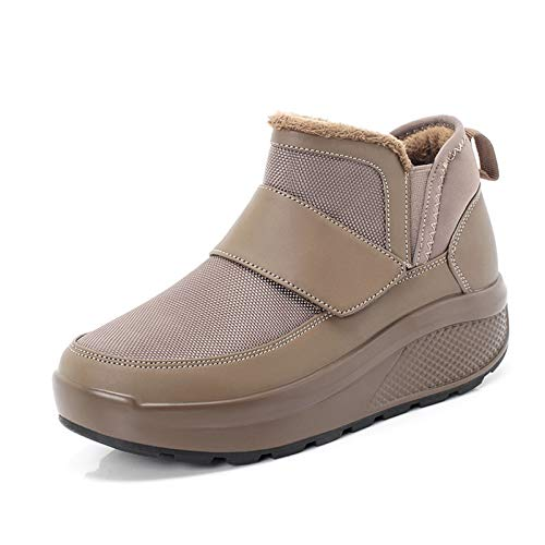 MUNDERA Women Winter Wedge Platform Sneakers Warm Fur Lined Outdoor Sport Shoes Non Slip Round Toe Snow Boots Khaki