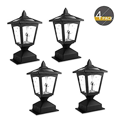 4 x 4 Solar Post Lights Outdoor, Solar Lamp Post Lights for Wood Fence, Deck, Posts Pathway, Pack of 4