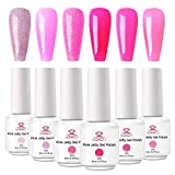 Makartt Pink Jelly Nail Polish Kit, Summer Translucent Nail Polish Collection, Soak Off UV LED Jelly Gel Nail Polish, Glitter Crystal Gel Nail Polish 6 Colors 8 ML