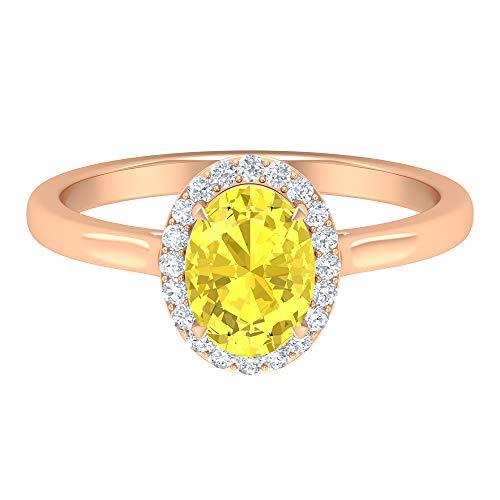 Rosec Jewels 14 quilates oro rosa ovalada round-brilliant-shape H-I Yellow Diamond zafiro sintético amarillo