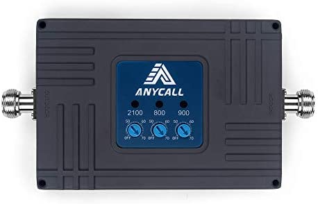 ANYCALL Tri-Banda Amplificador de Señal Móvil 2G/3G/4G Repetidor Señal Movil gsm, 900MHz UMTS 2100MHz LTE 800MHz, Mejore su Llamadas de Voz y Datos ...