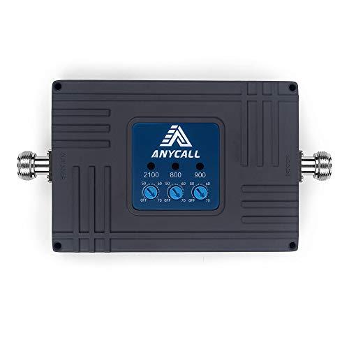 ANYCALL Tri-Banda Amplificador de Señal Móvil 2G/3G/4G Repetidor Señal Movil gsm, 900MHz UMTS 2100MHz LTE 800MHz, Mejore su Llamadas de Voz y Datos 3G/4G,Antenas omnidireccional Kit