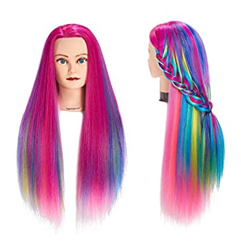 Traininghead 26 -28  Mannequin Head Hair Styling Training Head Manikin Cosmetology Doll Head Synthetic Fiber Hair Hairdressing Training Model With Free Clamp Stand  1711W0320