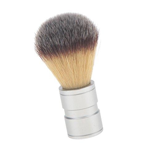 MagiDeal Blaireau Barbe en Poils Nylon Poignée Alliage pour Hommes - Brosse à Raser pour Rasage Barbier/Coiffeur - Poignée Argent
